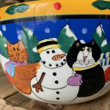 10� Catzilla Candace Reiter Christmas Bowl Cat Lover Sledding Snowman Ceramic