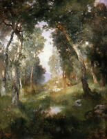 Forest Glade Thomas Moran Painting Print on Canvas Repro Home Decor Small 8x10