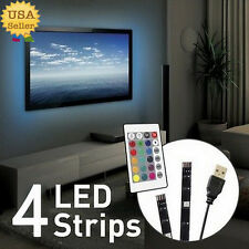 4x AMBIENT MOOD LIGHTING RGB COLOR CHANGING BACKLIGHTS LED TV LIGHT WIRELESS USB