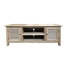 NEW Louvre Range Oak Timber 2 Door or 4 Door Entertainment Unit Natural Finish
