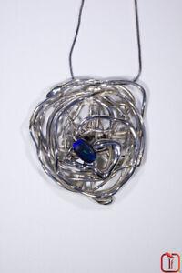 Handmade Woven Sterling Silver & Solid Black Opal Bead Pendant Art Jewellery 17g