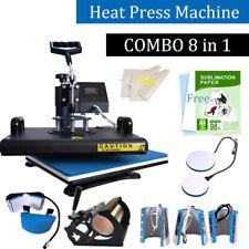 Combo 8in1 Heat Press Machine Digital Transfer Sublimation T-shirt Plate Mug Hat