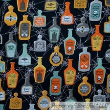 BonEful Fabric FQ Cotton Quilt Black Witch Potion Bottle Spider Web Halloween US