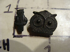 Vintage METAL SMALL SET OF TWO OWLS, very early and cool, great detail,