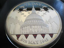 2010 BRITANNIA & 65th ANNIVERSARY VE DAY 5oz COLOURED SILVER PROOF