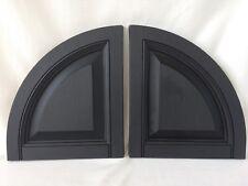 "Pair of Vinyl Shutter Top Quarter Round Arch Raised Panel Black 14-1/2"" Wide"
