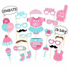 UK 25PCS Baby Shower Photo Booth Props New Born Party Little Lady Girl in Pink