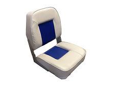 High Quality Folding Helmsman Boat Seat - Grey / Blue