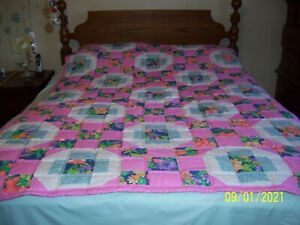 """Quilt Hand made Twin Size Bright Pink Print Pink Binding 55"""" x 78"""""""