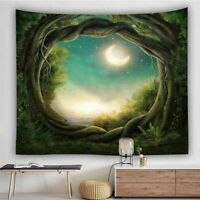 Wall Hanging Macrame Fantasy Scenery Forest Hippie Tapestry Blanket Home Decor