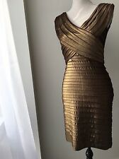 Cache Metallic Bronze Gold Cocktail Stretch Holiday Party Dress, 6