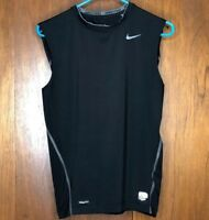 NIKE Pro Team Fitdry Women's Large Running Athletic Black Sleeveless Tank Top