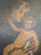 Quadro-dipinto a olio su tela Sant' Antonio da Padova con Gesù Bambino epoca 700