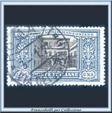 1923 Italia Regno Manzoni Lire 1 azzurro e nero n. 155 Usato