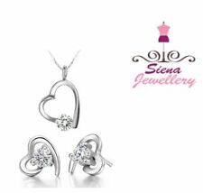 18ct white gold GP Wedding jewellery 1 ct pendant necklace earrings Crystal 18k