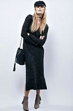 NEW Free People Maxi Sweater Dress charcoal flecked Take The Plunge Tunic L $228