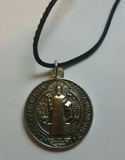 "St Benedict medal Silver Plate Catholic Saint. Medal Rope Necklace 1"" Italy"