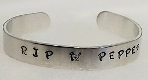 Hand Stamped Customizable Cuff Bracelet RIP (Name) Hand Made
