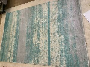 Luxury soft short shag pile extra large rug seconds duck egg blue silver cream