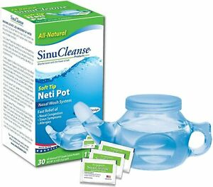 SinuCleanse Soft Tip Neti-Pot Nasal Wash System - Includes 30 All, Natural, P...