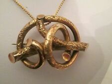 Antique Victorian Pinchbeck gold etched lovers knot pendant/brooch/pin Stunning