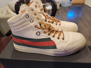 Authentic GUCCI Off White Web GG Canvas  High-Top Sneakers 256870 Size 8.5G