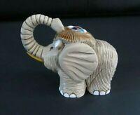 Hand Crafted Tan Clay Pottery Elephant Figurine, Uruguay
