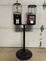 VINTAGE Double Gumball Candy Machine + Stand, Five Cents Nickel