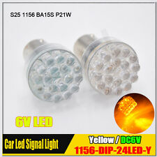 4Pcs DC 6V Car LED S25 BA15S P21W DIP 1156 24 LED Light Bulb Lamps YELLOW AMBER