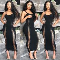 Women Spaghetti Strap Bandage Bodycon Clubwear Party Casual Long Maxi Dress