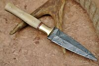 HAND FORGED DAMASCUS STEEL DAGGER THROWING BOOT KNIFE & BONE W/BRASS HANDLE-1174