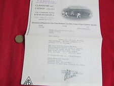 CLAPSHAW & CLEAVE  Birmingham  Sporting Equipment  1935  Letterhead CRICKET pic