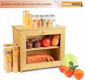 Double Layer Wooden Bread Box for Kitchen Large Capacity Food Storage 2 Loaves