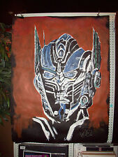 Optimus Prime HUGE original PAINTING Transformers: Age of Extinction Tar Paper