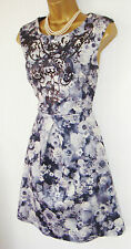 JANE NORMAN DRESS SIZE 16 GREY FLORAL FIT FLARE