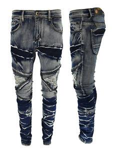 Mens Designer Frayed Iced Wash SlimStretch Distressed Ripped Denim Biker Jeans