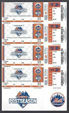 2015 NLCS FULL UNUSED BASEBALL TICKETS SHEET - CHICAGO CUBS @ NEW YORK METS