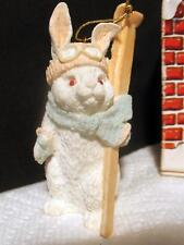 Vintage Itty Bitty Christmas Ornament Snow Bunny & Skis 1986 Miniature w Box USA