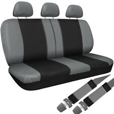 SUV Van Truck Seat Cover Gray Black 8pc Set Bench Belt Pad/Detachable Head Rest