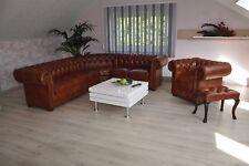 Chesterfield Eck sofa in Rinder Leder D100 Narben Rinder Leder
