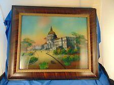 "Reverse Glass painting United States Capital building 21"" x  25"" Washington DC"
