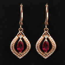 Solid 18K Rose Gold 1.24TCW Marquise Cut Natural Burma Ruby Diamond Earrings
