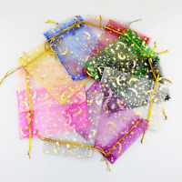 50-100pcs Moon Star Organza Gift Bags Wedding Jewelry Drawstring Party Pouches