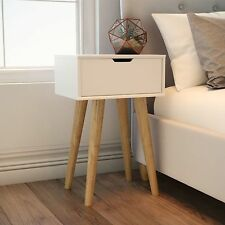 White Retro Bedside Table Vintage Bedroom Furniture Storage Cabinet Unit Oak Leg