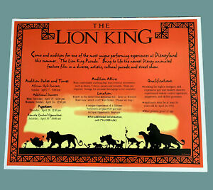 Disneyland Authentic Lion King Parade Audition Recruitment Poster 1994