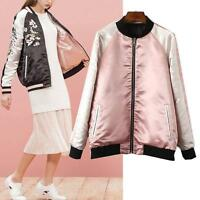 Reversible Women Satin Embroidered Bomber Jacket Baseball Coat Floral Embroidery