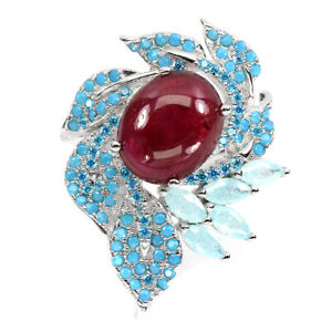 Oval Red Ruby 11x9mm Cubic Zirconia White Gold Plate 925 Sterling Silver Ring
