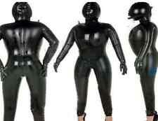 Latex Rubber Bodysuit Black Inflatable Tights Hood Fashion Suit Size XXS- XXL