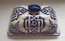 HAND PAINTED CERAMIC OBLONG DISH * BLUE & WHITE * FES POTTERY *