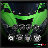 Strada 7 Racing CNC Windscreen Bolts M5 Wellnuts Set Kawasaki ZXR400 Black